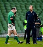 14 February 2021; Cian Healy of Ireland leaves the pitch for a head injury assessment during the Guinness Six Nations Rugby Championship match between Ireland and France at the Aviva Stadium in Dublin. Photo by Ramsey Cardy/Sportsfile