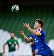 14 February 2021; Matthieu Jalibert of France during the Guinness Six Nations Rugby Championship match between Ireland and France at the Aviva Stadium in Dublin. Photo by Ramsey Cardy/Sportsfile