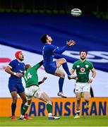14 February 2021; Brice Dulin of France and Keith Earls of Ireland contest a high ball during the Guinness Six Nations Rugby Championship match between Ireland and France at the Aviva Stadium in Dublin. Photo by Ramsey Cardy/Sportsfile