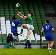 14 February 2021; Brice Dulin of France and Hugo Keenan of Ireland contest a high ball during the Guinness Six Nations Rugby Championship match between Ireland and France at the Aviva Stadium in Dublin. Photo by Ramsey Cardy/Sportsfile