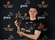 20 February 2021; Brian Fenton of Dublin with his PwC GAA/GPA Footballer of the Year award for 2020. Photo by Brendan Moran/Sportsfile