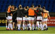 19 February 2021; Ulster players huddle ahead of the Guinness PRO14 match between Glasgow Warriors and Ulster at Scotstoun Stadium in Glasgow, Scotland. Photo by Alan Harvey/Sportsfile
