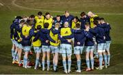 19 February 2021; The Leinster team huddle ahead of the Guinness PRO14 match between Dragons and Leinster at Rodney Parade in Newport, Wales. Photo by Gareth Everett/Sportsfile