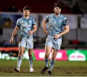 19 February 2021; Harry Byrne, right, and Ross Byrne of Leinster during the Guinness PRO14 match between Dragons and Leinster at Rodney Parade in Newport, Wales. Photo by Gareth Everett/Sportsfile