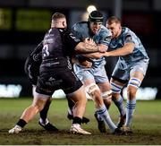 19 February 2021; Ryan Baird of Leinster is tackled by Lloyd Fairbrother of Dragons during the Guinness PRO14 match between Dragons and Leinster at Rodney Parade in Newport, Wales. Photo by Chris Fairweather/Sportsfile