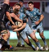 19 February 2021; James Tracy of Leinster is tackled by Matthew Screech of Dragons during the Guinness PRO14 match between Dragons and Leinster at Rodney Parade in Newport, Wales. Photo by Chris Fairweather/Sportsfile