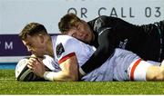 19 February 2021; Craig Gilroy of Ulster scores his side's second try during the Guinness PRO14 match between Glasgow Warriors and Ulster at Scotstoun Stadium in Glasgow, Scotland. Photo by Alan Harvey/Sportsfile