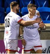19 February 2021; Craig Gilroy of Ulster celebrates after scoring his side's second try with team-mate Adam McBurney during the Guinness PRO14 match between Glasgow Warriors and Ulster at Scotstoun Stadium in Glasgow, Scotland. Photo by Alan Harvey/Sportsfile