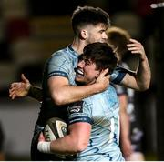 19 February 2021; Dan Sheehan of Leinster is congratulated by team-mate Harry Byrne after he scored his side's fourht try during the Guinness PRO14 match between Dragons and Leinster at Rodney Parade in Newport, Wales. Photo by Gareth Everett/Sportsfile