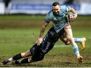 19 February 2021; Dave Kearney of Leinster is tackled by Josh Lewis of Dragons during the Guinness PRO14 match between Dragons and Leinster at Rodney Parade in Newport, Wales. Photo by Gareth Everett/Sportsfile