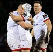 19 February 2021; Michael Lowry of Ulster celebrates his try with team-mate James Hume during the Guinness PRO14 match between Glasgow Warriors and Ulster at Scotstoun Stadium in Glasgow, Scotland. Photo by Alan Harvey/Sportsfile