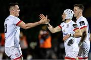 19 February 2021; Michael Lowry of Ulster celebrates his side's first try with team-mate James Hume during the Guinness PRO14 match between Glasgow Warriors and Ulster at Scotstoun Stadium in Glasgow, Scotland. Photo by Alan Harvey/Sportsfile