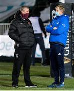 19 February 2021; Dragons head coach Dean Ryan and Leinster head coach Leo Cullen before the Guinness PRO14 match between Dragons and Leinster at Rodney Parade in Newport, Wales. Photo by Gareth Everett/Sportsfile