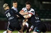 19 February 2021; Stuart McCloskey of Ulster is tackled by Sam Johnson and Adam Hastings of Glasgow Warriors during the Guinness PRO14 match between Glasgow Warriors and Ulster at Scotstoun Stadium in Glasgow, Scotland. Photo by Alan Harvey/Sportsfile