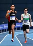 20 February 2021; Leon Reid of Menpians AC, Wexford, left, on his way to winning the Men's 200m with an indoor personal best of 20.96, ahead of and Mark Smyth of Raheny Shamrock AC, Dublin, who finished third, during day one of the Irish Life Health Elite Athlete Indoor Micro Meet at Sport Ireland National Indoor Arena at the Sport Ireland Campus in Dublin. Photo by Sam Barnes/Sportsfile