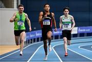 20 February 2021; Leon Reid of Menpians AC, Wexford, centre, on his way to winning the Men's 200m with an indoor personal best of 20.96, ahead of Marcus Lawler of St Laurence O'Toole AC, Carlow, left, who finished second, and Mark Smyth of Raheny Shamrock AC, Dublin, who finished third, during day one of the Irish Life Health Elite Athlete Indoor Micro Meet at Sport Ireland National Indoor Arena at the Sport Ireland Campus in Dublin. Photo by Sam Barnes/Sportsfile