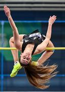 20 February 2021; Sommer Lecky of Finn Valley AC, Donegal, competing in the Women's High Jump during day one of the Irish Life Health Elite Athlete Indoor Micro Meet at Sport Ireland National Indoor Arena at the Sport Ireland Campus in Dublin. Photo by Sam Barnes/Sportsfile