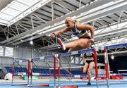 20 February 2021; Sarah Lavin of Emerald AC, Limerick, right, on her way to winning the Women's 60m Hurdles during day one of the Irish Life Health Elite Athlete Indoor Micro Meet at Sport Ireland National Indoor Arena at the Sport Ireland Campus in Dublin. Photo by Sam Barnes/Sportsfile