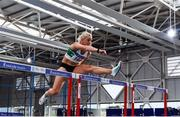 20 February 2021; Sarah Lavin of Emerald AC, Limerick, on her way to winning the Women's 60m Hurdles during day one of the Irish Life Health Elite Athlete Indoor Micro Meet at Sport Ireland National Indoor Arena at the Sport Ireland Campus in Dublin. Photo by Sam Barnes/Sportsfile
