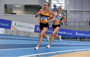 20 February 2021; Michelle Finn of Leevale AC, Cork, left, acting as pacer, leads Amy O'Donoghue of Emerald AC, Limerick, in the Women's 1500m during day one of the Irish Life Health Elite Athlete Indoor Micro Meet at Sport Ireland National Indoor Arena at the Sport Ireland Campus in Dublin. Photo by Sam Barnes/Sportsfile