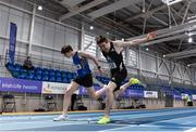 20 February 2021; Mark English of Finn Valley AC, Donegal, right, dips for the line to win the Men's 800m, ahead of Cian McPhillips of Longford AC,  left, who finished second, during day one of the Irish Life Health Elite Athlete Indoor Micro Meet at Sport Ireland National Indoor Arena at the Sport Ireland Campus in Dublin. Photo by Sam Barnes/Sportsfile