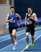 20 February 2021; Mark English of Finn Valley AC, Donegal, centre, on his way to winning the Men's 800m, ahead of Cian McPhillips of Longford AC,  left, who finished second, during day one of the Irish Life Health Elite Athlete Indoor Micro Meet at Sport Ireland National Indoor Arena at the Sport Ireland Campus in Dublin. Photo by Sam Barnes/Sportsfile