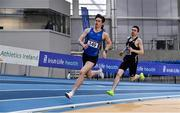 20 February 2021; Cian McPhillips of Longford AC, left, leads Mark English of Finn Valley AC, Donegal, out on the final lap whilst competing in the Men's 800m during day one of the Irish Life Health Elite Athlete Indoor Micro Meet at Sport Ireland National Indoor Arena at the Sport Ireland Campus in Dublin. Photo by Sam Barnes/Sportsfile