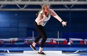20 February 2021; Ciara Sheehy of Emerald AC, Limerick, competing in the Women's Shot Put during day one of the Irish Life Health Elite Athlete Indoor Micro Meet at Sport Ireland National Indoor Arena at the Sport Ireland Campus in Dublin. Photo by Sam Barnes/Sportsfile