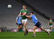 19 December 2020; Matthew Ruane of Mayo is tackled by Colm Basquel of Dublin during the GAA Football All-Ireland Senior Championship Final match between Dublin and Mayo at Croke Park in Dublin. Photo by Ray McManus/Sportsfile