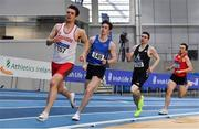 20 February 2021; Athletes, from left, Kevin Woods of Crusaders AC, Dublin, acting as pacer, followed by, Cian McPhillips of Longford AC,  Mark English of Finn Valley AC, Donegal, and John Fitzsimons of Kildare AC, competing in the Men's 800m during day one of the Irish Life Health Elite Athlete Indoor Micro Meet at Sport Ireland National Indoor Arena at the Sport Ireland Campus in Dublin. Photo by Sam Barnes/Sportsfile