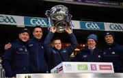 19 December 2020; Dublin manager Dessie Farrell, centre, lifts the Sam Maguire Cup with selectors and coaches, from left, Mick Galvin, Brian O'Regan, Shane O'Hanlon and Darren Daly after the GAA Football All-Ireland Senior Championship Final match between Dublin and Mayo at Croke Park in Dublin. Photo by Ray McManus/Sportsfile