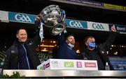 19 December 2020; Dublin team doctor Dr. Kiaran O'Malley, David Boylan and Dublin County Board Chairman Mick Seavers lift the Sam Maguire Cup following the GAA Football All-Ireland Senior Championship Final match between Dublin and Mayo at Croke Park in Dublin. Photo by Ray McManus/Sportsfile