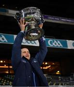 19 December 2020; Dublin manager Dessie Farrell lifts the Sam Maguire after the GAA Football All-Ireland Senior Championship Final match between Dublin and Mayo at Croke Park in Dublin. Photo by Ray McManus/Sportsfile