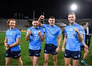 19 December 2020; Dublin players, from left, Aaron Byrne, Philip McMahon, Brian Howard and Paul Mannion of Dublin after the GAA Football All-Ireland Senior Championship Final match between Dublin and Mayo at Croke Park in Dublin. Photo by Ray McManus/Sportsfile