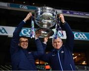 19 December 2020; Dr. Diarmuid Smith, Dublin team doctor, left, and Dublin goalkeeping coach Josh Moran lift the Sam Maguire Cup after the GAA Football All-Ireland Senior Championship Final match between Dublin and Mayo at Croke Park in Dublin. Photo by Ray McManus/Sportsfile