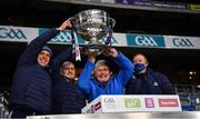 19 December 2020; Dublin analyst team, from left, Stephen Behan, Ciaran Toner, Frankie Roebuck and Chris Farrell lift the Sam Maguire Cup following the GAA Football All-Ireland Senior Championship Final match between Dublin and Mayo at Croke Park in Dublin. Photo by Ray McManus/Sportsfile