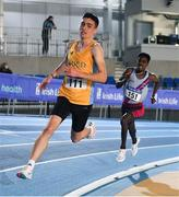 20 February 2021; Darragh McElhinney of UCD AC, Dublin, left, and Hiko Tonosa of Dundrum South Dublin AC, competing in the Men's 3000m  during day one of the Irish Life Health Elite Athlete Indoor Micro Meet at Sport Ireland National Indoor Arena at the Sport Ireland Campus in Dublin. Photo by Sam Barnes/Sportsfile