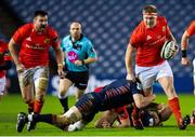 20 February 2021; John Ryan of Munster is tackled by Luke Crosbie of Edinburgh during the Guinness PRO14 match between Edinburgh and Munster at BT Murrayfield Stadium in Edinburgh, Scotland. Photo by Paul Devlin/Sportsfile