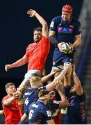 20 February 2021; Grant Gilchrist of Edinburgh wins the ball in the lineout ahead of Bill Holland of Munster during the Guinness PRO14 match between Edinburgh and Munster at BT Murrayfield Stadium in Edinburgh, Scotland. Photo by Paul Devlin/Sportsfile