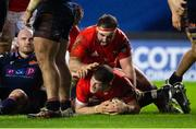 20 February 2021; Jack O'Donoghue of Munster scores his side's first try during the Guinness PRO14 match between Edinburgh and Munster at BT Murrayfield Stadium in Edinburgh, Scotland. Photo by Paul Devlin/Sportsfile