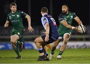 20 February 2021; Bundee Aki of Connacht, supported by teammate Jack Carty, left, in action against Harri Millard of Cardiff Blues during the Guinness PRO14 match between Connacht and Cardiff Blues at The Sportsground in Galway. Photo by Piaras Ó Mídheach/Sportsfile