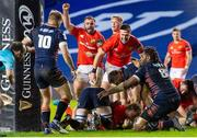 20 February 2021; Munster players celebrate as team-mate Craig Casey scores their side's second try during the Guinness PRO14 match between Edinburgh and Munster at BT Murrayfield Stadium in Edinburgh, Scotland. Photo by Paul Devlin/Sportsfile