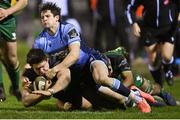 20 February 2021; Dave Heffernan of Connacht is tackled by Lloyd Williams of Cardiff Blues during the Guinness PRO14 match between Connacht and Cardiff Blues at The Sportsground in Galway. Photo by Ramsey Cardy/Sportsfile