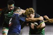20 February 2021; Finlay Bealham of Connacht is tackled by Liam Belcher of Cardiff Blues during the Guinness PRO14 match between Connacht and Cardiff Blues at The Sportsground in Galway. Photo by Ramsey Cardy/Sportsfile