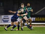 20 February 2021; Jack Carty of Connacht is tackled by Rory Thornton and Dmitri Arhip of Cardiff Blues during the Guinness PRO14 match between Connacht and Cardiff Blues at The Sportsground in Galway. Photo by Piaras Ó Mídheach/Sportsfile