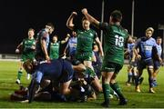 20 February 2021; Jack Aungier of Connacht celebrates a try by Jarrad Butler during the Guinness PRO14 match between Connacht and Cardiff Blues at The Sportsground in Galway. Photo by Ramsey Cardy/Sportsfile