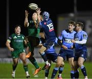20 February 2021; Matt Healy of Connacht in action against Matthew Morgan of Cardiff Blues during the Guinness PRO14 match between Connacht and Cardiff Blues at The Sportsground in Galway. Photo by Ramsey Cardy/Sportsfile