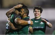 20 February 2021; Abraham Papali'i, left, celebrates with Connacht team-mate Bundee Aki after scoring his side's fourth try during the Guinness PRO14 match between Connacht and Cardiff Blues at The Sportsground in Galway. Photo by Ramsey Cardy/Sportsfile