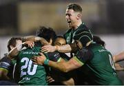 20 February 2021; Abraham Papali'i of Connacht celebrates with Connacht team-mates after scoring his side's fourth try during the Guinness PRO14 match between Connacht and Cardiff Blues at The Sportsground in Galway. Photo by Ramsey Cardy/Sportsfile