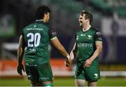 20 February 2021; Abraham Papali'i celebrates with Connacht team-mate Jack Carty, right, after scoring his side's fourth try during the Guinness PRO14 match between Connacht and Cardiff Blues at The Sportsground in Galway. Photo by Ramsey Cardy/Sportsfile